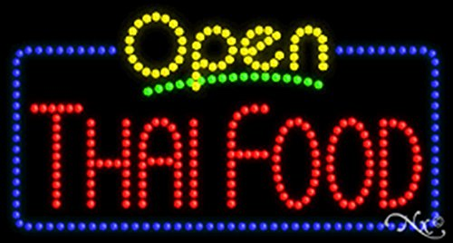 17x32x1 inches Thai Food Animated Flashing LED Window Sign by Light Master