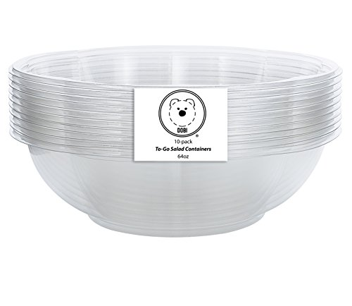 DOBI Salad To-Go Containers, 64oz, (10 Pack) - Clear Plastic Disposable Salad Bowls with Lids, Family Size
