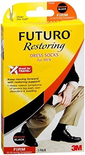 FUTURO Dress Socks For Men Firm Compression Medium Black 1 Pair (Pack of 4)
