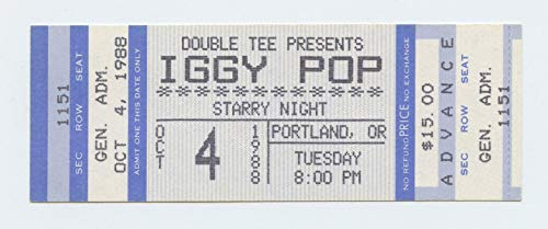 Iggy Pop Ticket 1980 Oct 4 Starry Night Portland Unused
