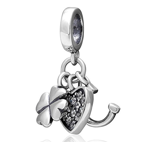 - Horseshoe and Heart Crystal Charms Pendant 925 Sterling Silver Lucky Clover Dangle Bead Charm for European Bracelet