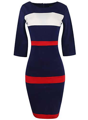 Babyonlinedress Women Colorblock Wear to Work Business Party Bodycon One-Piece Dress (Navy,L)
