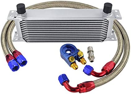 ETbotu - Kit de radiador de Aceite, Kit de radiador de Aceite de 13 Filas + Adaptador Sandwich Filtro de Aceite + Tubo Flexible de Nailon y Acero Inoxidable Argento +6746