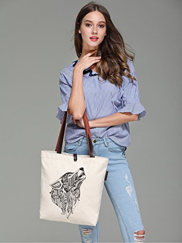 So'each Women's Wolf Animal Geometry Print Canvas Handbag Tote Shoulder Bag