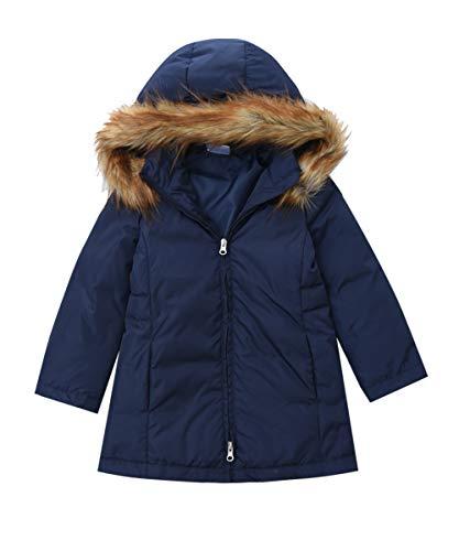 M2C Girls Faux Fur Hooded Long Puffer Duck Down Jacket Parka Navy Blue 6/7