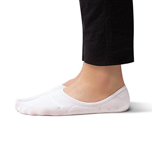 No Show Non Slip Low Cut Boat Socks for Men - Sheec SoleHugger Active - White Large 8 pairs