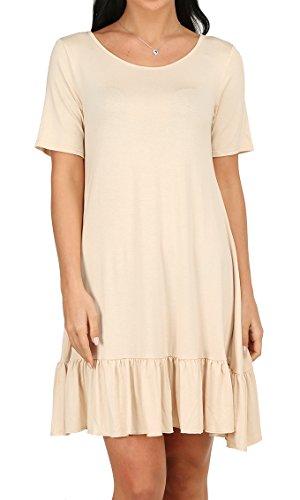 OFEEFAN Women's Short Sleeve Ruffle Hem Knit Tunic Dress Apricot - Dress Ruffle Detail Knit