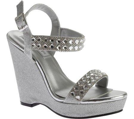 Touch Ups Women's Brynn Wedge Sandal, Silver Shimmer, 8 M US