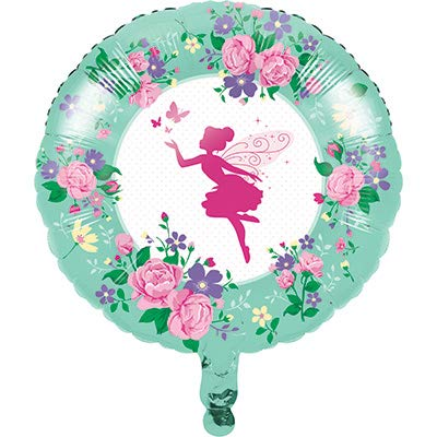 Club Pack Floral Fairy Sparkle Birthday 18in Mylar Balloons, Box of 10