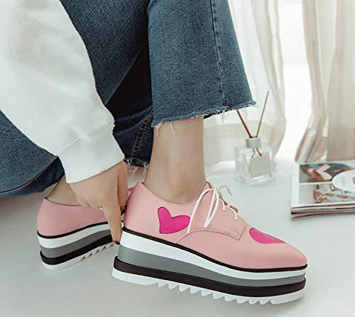 Derbie Mode Coeur Bout Femme Lacets Aisun Avec Carré Rose Basket r750rwq
