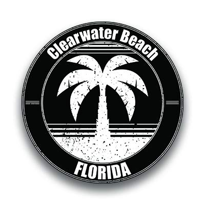 Clearwater Beach Vinyl Decal Sticker Vacation Explore Memory Souvenir Waterproof 2 Pack 3 Inch Round Premium Quality Vinyl UV Protective Laminate -