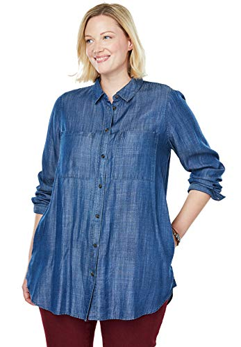 (Woman Within Women's Plus Size Denim Button-Down Tunic Shirt - Medium Stonewash, 14/16)