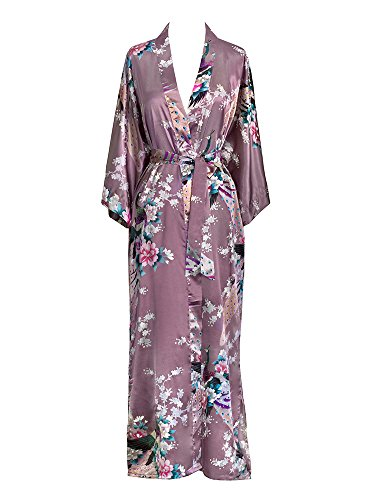 Fancy Silk Pocket - Old Shanghai Women's Kimono Long Robe - Peacock &, Purple, Size One Size. S5wh