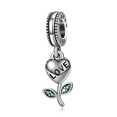 (LONAGO 925 Sterling Silver I Love You Flower Heart Shape Dangle Charm Bead Gift for Wife Girlfriend (Love Leaf))