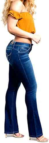3ae884a56c YMI Wannabettabutt Mid-Rise Bootcut Luxe Jeans, Hand Sand Grinding Blue