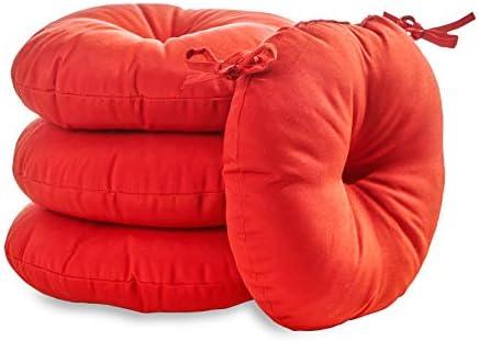 South Pine Porch AM6816S4-SALSA Solid Salsa Red 15-inch Round Outdoor Bistro Chair Cushion
