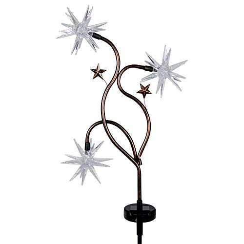 (Exhart Triple Color Starburst Garden Stake - Patriotic Starburst Solar Stake Lights in Blue, Red & White Accent Colors - Glow Stars Outdoor Decor with Solar Powered Lights, 11 L x 3