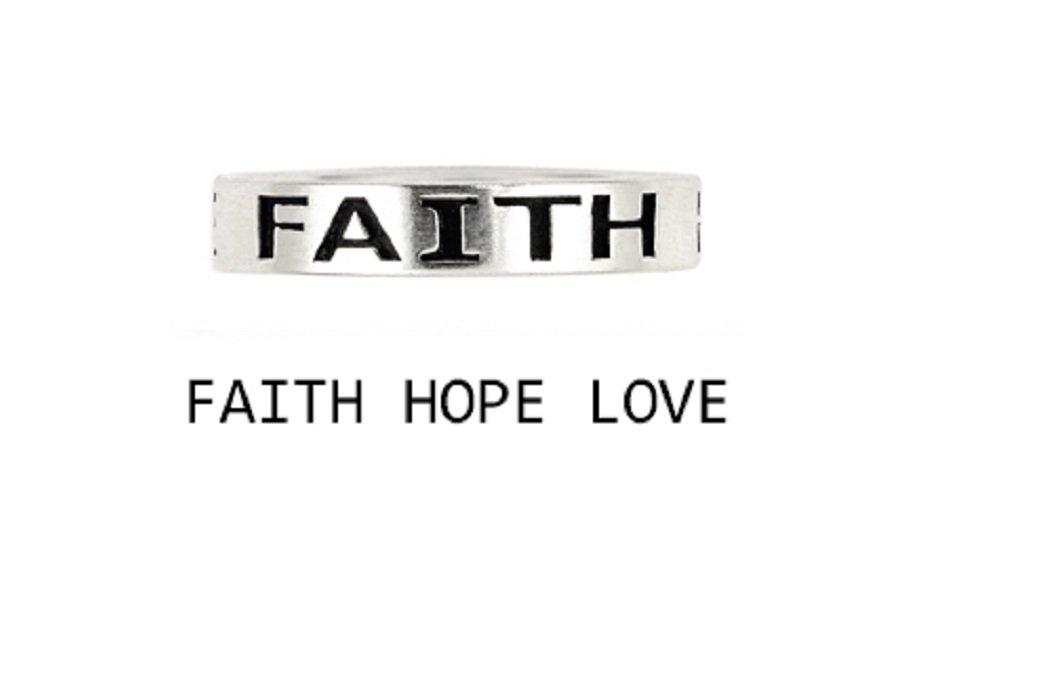 925 Sterling Silver Inspirational Love Faith Hope Band Ring Size 9