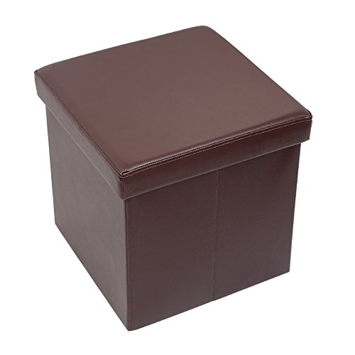Cheap Amoiu 15″ x 15″x 15″ Folding Storage Ottoman Cube Foot Rest Stool Seat Coffee Table – Faux Leather, Brown