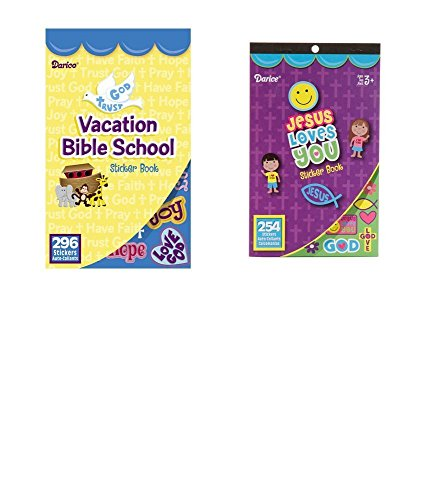 2 BOOKS of Mini RELIGIOUS STICKERS - 254 JESUS Love You & 296 VBS Vacation Bible School (550 total stickers) Christian Kid's ACTIVITY/Craft PARTY Favors]()