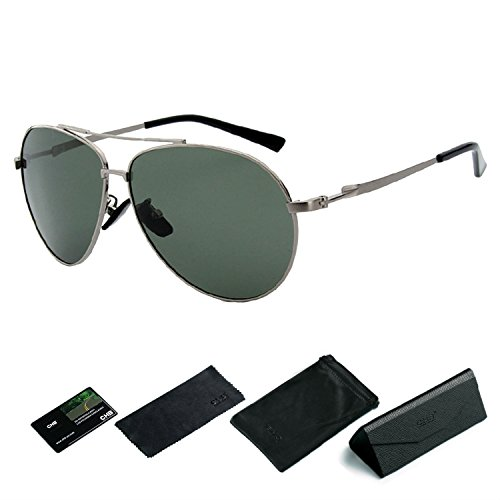 400 Metal Marco Gafas Para Hacer UV Sol Aviador Ejercicio Ligeras Hombres Con de CHB Polarizadas Gafas de Estuche Protección FE46qg