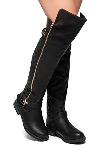 Herstyle Neekkaa Women's Boots- Quilted Zipper, Buckle Over Knee Riding Boots Black 9