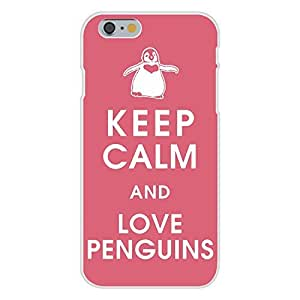 DaojieTM Generic Iphone 6 4.7 Inch Custom Case White Plastic Snap on - Keep Calm and Love Penguins w/ Heart