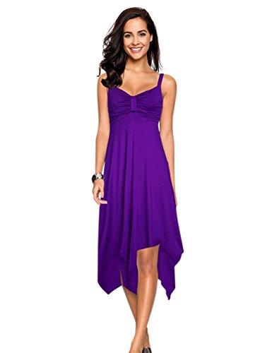 Leadingstar Women V Neck Strap A Line Irregular Hem Sundress Dress (Purple, S)