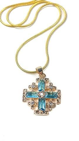 Gold Plated Jerusalem Cross Pendant Necklace Turquoise Aquamarine & Zircon Gems (Gold Cross Necklace 20 Inch)
