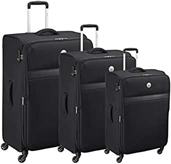 Delsey Oujda Luggage Trolley Bags Set, 3 Pcs With 4 Wheels - Black