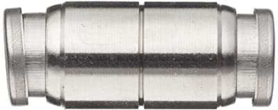 """SMC KQG2 Series Stainless Steel 316 Push-to-Connect Tube Fitting, Straight Union, 1/2"""" Tube OD"""