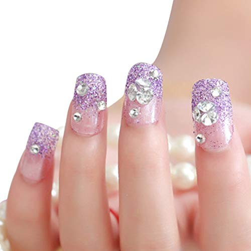 Lucoo Nail Art Nail Decals Manicure Series Diamond 24 Tablets Nail Paste Kit Nail Art Decorations Nail Art Stickers Manicure Set (As Shown)