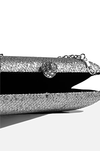 Purse Silver Sequined Case Bag Strap Handbag Hard Sparkly With Chain Evening Clutch Women Zxwp6qEw