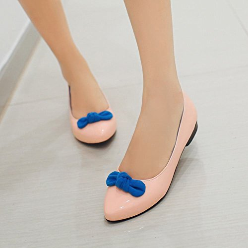 Latasa Womens Fashion Bow Round-toe Flats Shoes, Casual Shoes Pink