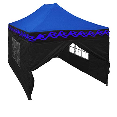 Delta 10'x15' Pop up 4 Wall Canopy Party Tent Gazebo Ez Blue Flame - F Model Upgraded Frame Canopies