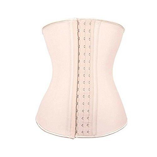 The Ultimate Waist Trainer Corset For Women By B.E. Beauty –With Soft Cotton Lining, 3 Eye-And-Hook Clips &9 Spiral Steel Bones –Promotes Weight Loss & Shapes Perfect Hourglass Figure (Beige, - Shape Broad