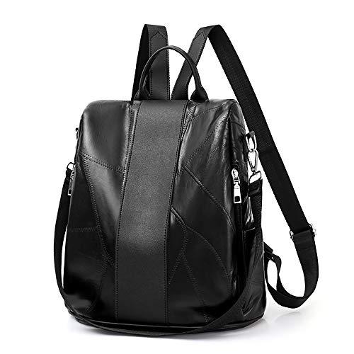 Present Leather Backpack for Women Girl Sheepskin Soft Zipper Pocket Shoulder Bag Large Capacity Travel Bags (31cm(L) x16cm(W) x31cm(H)/12.20(L) x6.30(W) x12.20(H), Black)