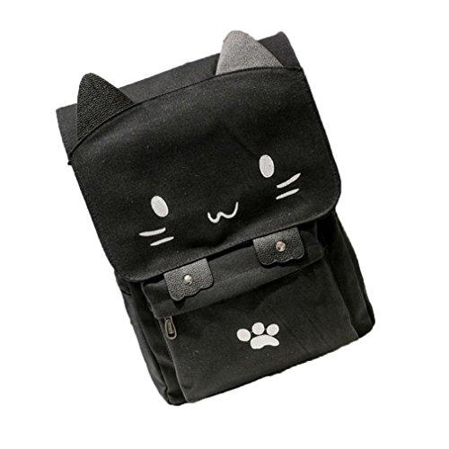 Girls School Bag by Vibola Cute Cat Canvas Cartoon Backpacks Casual Printing Rucksack (White)