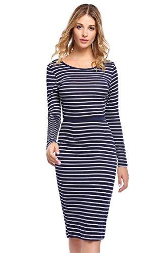 A-line Sheath (Elesol Women's Classic Striped Dress Scoop Neck A Line Empire Waist Dress Blue White XL)