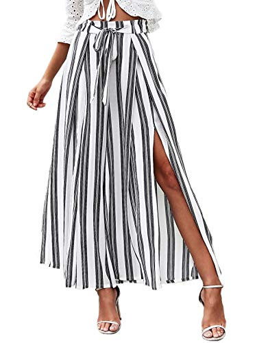 (SweatyRocks Women's Side Split Elastic Tie Waist Striped Palazzo Pants White Medium)