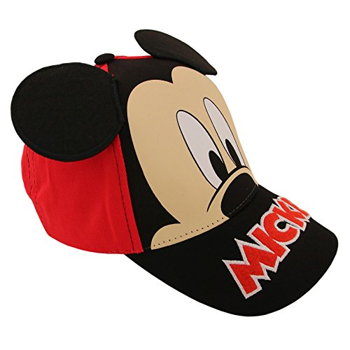 Disney Little Boys Mickey Mouse Character Cotton Baseball Cap, Red/Black, Age 2-7