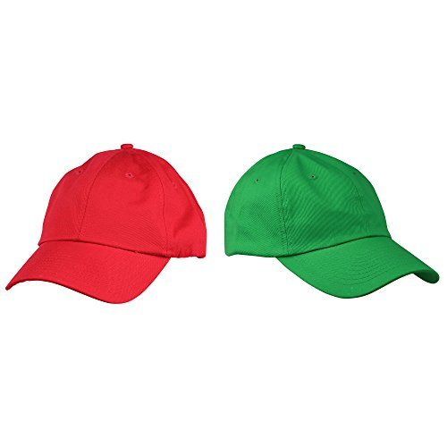DALIX 2-Pack Mario and Luigi Hats Christmas Theme Hat Colors Halloween Costume Set Red Green Adjustable Soft Dad Hat -