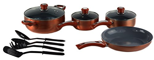 (Gourmet Chef AL-11C Ceramic Cookware Set, Standard, Copper)