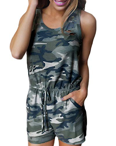 Auxo Women Short Romper Summer Camouflage Sexy Cute Playsuit One Piece Jumpsuit Jumper 03-Camouflage US 8/Asian -