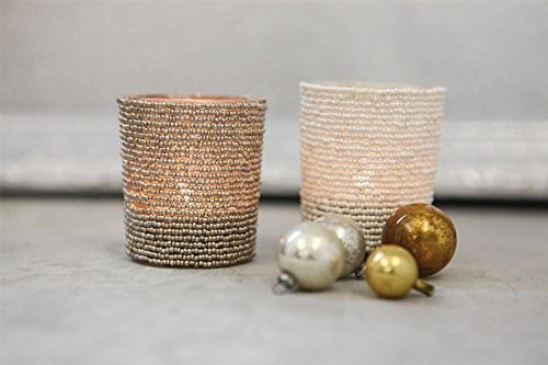 Glass Beaded Tealight Candle Holder SET OF 2 Colors Ivory Gold Country Christmas Holiday Home D