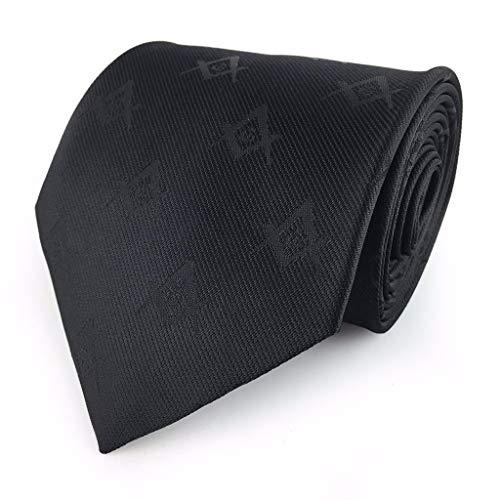 (Masonic Masons Tie with self Print Square Compass & G Black)