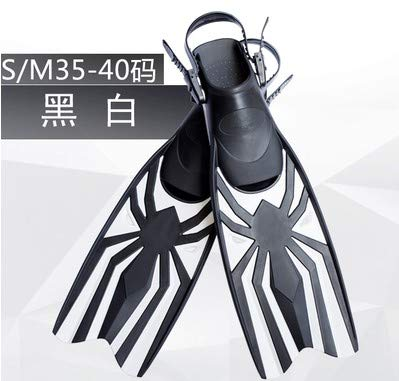 ESFSWFT Adjustable Soft Swimming Fins One Pair Diving Necessity Webbed Feet Black White S/M