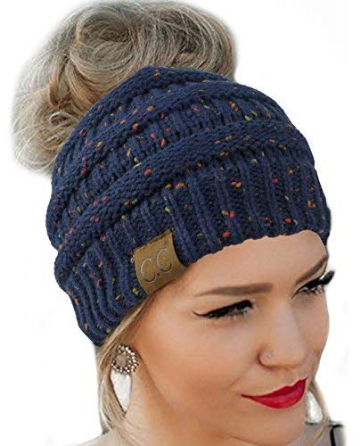 Messy Bun Hat Beanie CC Quality Knit (Navy Flecked)