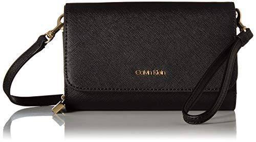 - Calvin Klein Hayden Saffiano Leather Key Item Flap Crossbody, black