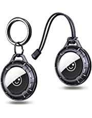 Ztotops 2 Pack Hard PC Protective Airtag Holder, Anti-Scratch Protective Skin Airtag Keyring, Keeps Signal Strong Airtag Case - Black